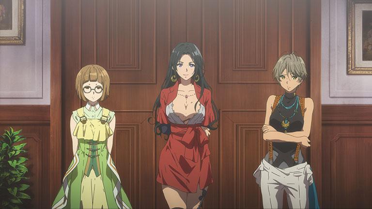 자동수기인형 셋이 서서 바라보고 있다. 가운데 여자는 가슴의 반이 드러난 상의와 미니스커트 원피스를 입고 있고 허벅지에는 문신이 보인다.