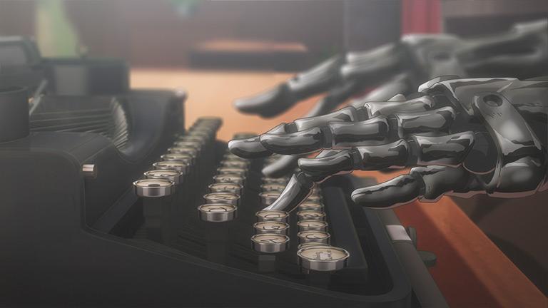 차가운 금속으로 만들어진 바이올렛의 양손이 타자기를 두드리고 있다