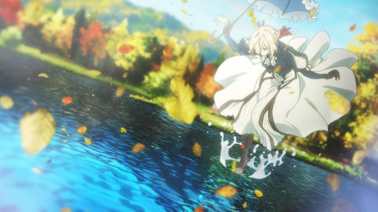 낙옆이 떨어지는 가을날 호수위 양산을 편채 수면에 발을 내딛는 바이올렛 에버가든