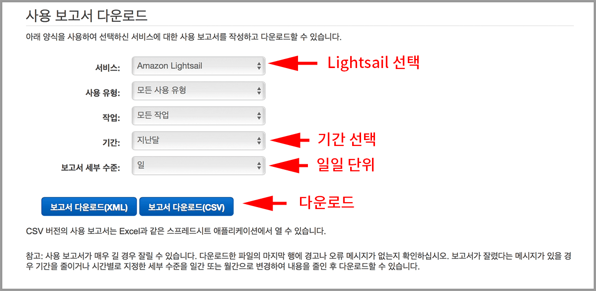 Lightsail을 선택후 기간선택, 일일단위 선택후 CSV 다운로드
