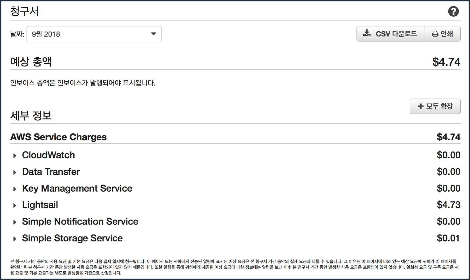 예상총액과 세부 정보로 나누어진 청구서. 서비스별 청구비용 항목