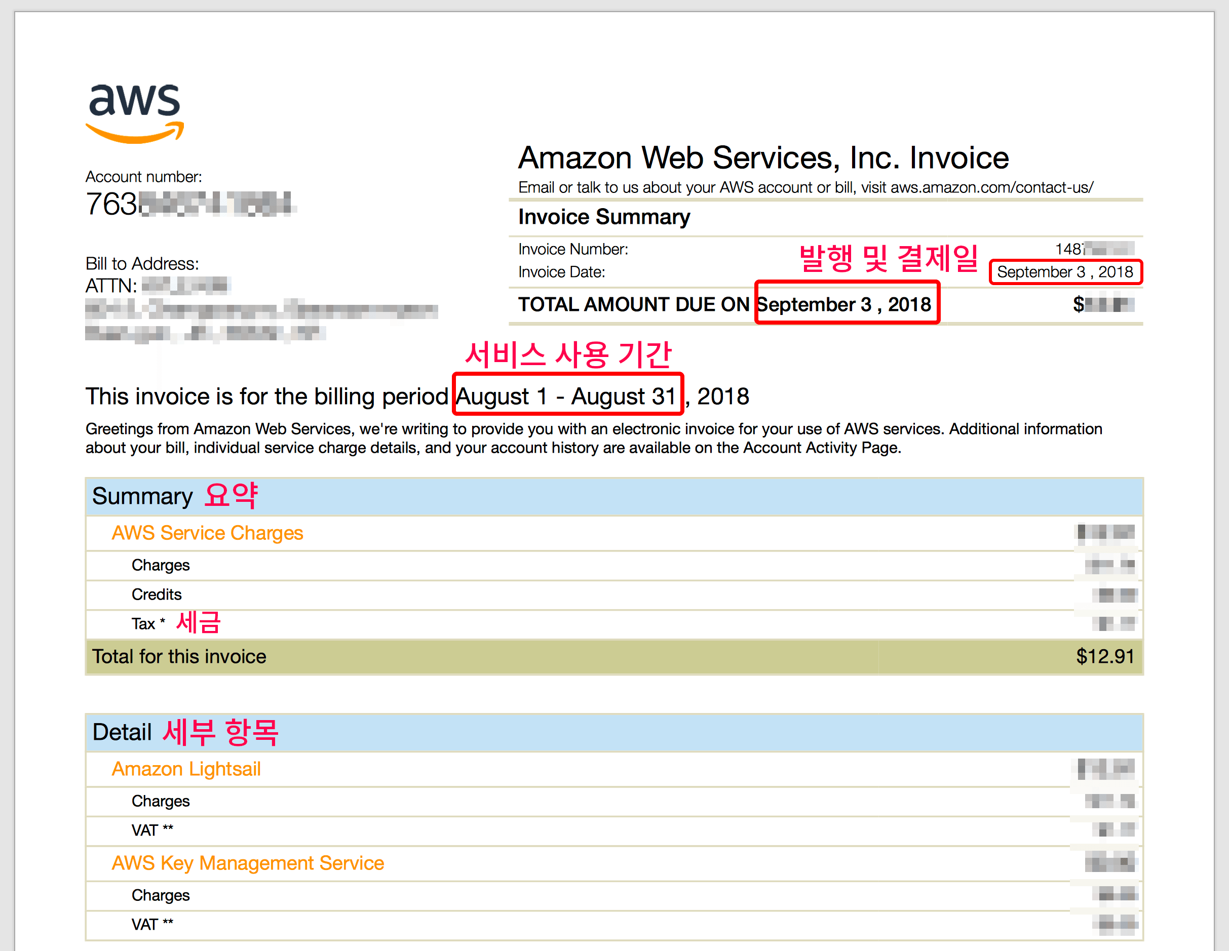 AWS 로고와 계정 번호, 결제일 및 서비스 사용기간 그리고 요약과 세부항목으로 나누어져 있다