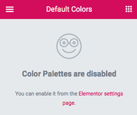 Color Palettes are disabled 안내 문구