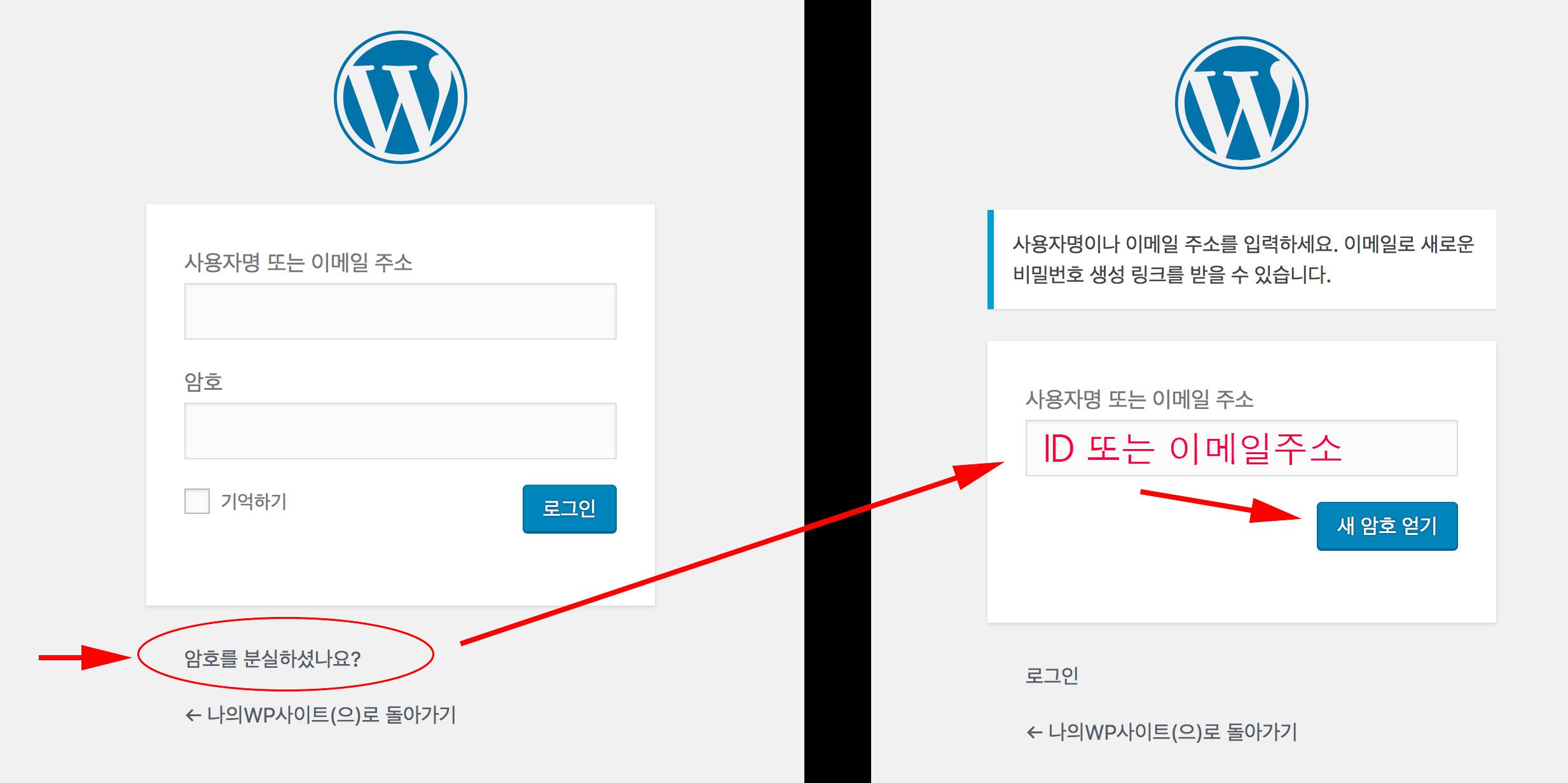 로그인 화면 아래쪽에 '암호를 분실하셨나요?'를 클릭 후 ID 입력