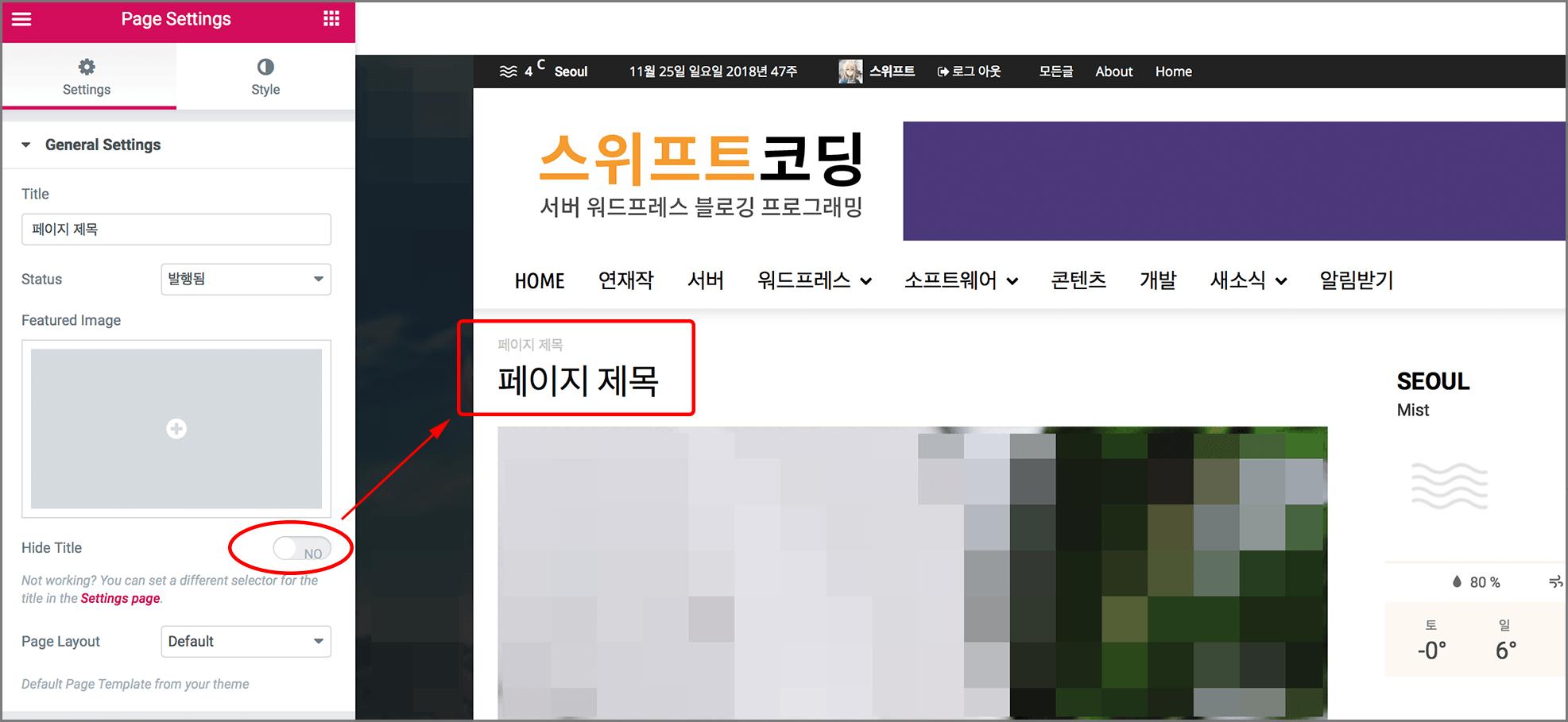 hide title 옵션이 꺼져있어서 페이지 제목이 나타나는 디폴트 템플릿