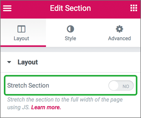 Layout > stretch section 이 꺼져있다