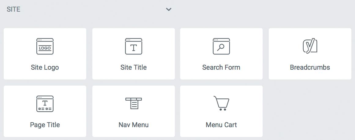 elementor site widget 목록