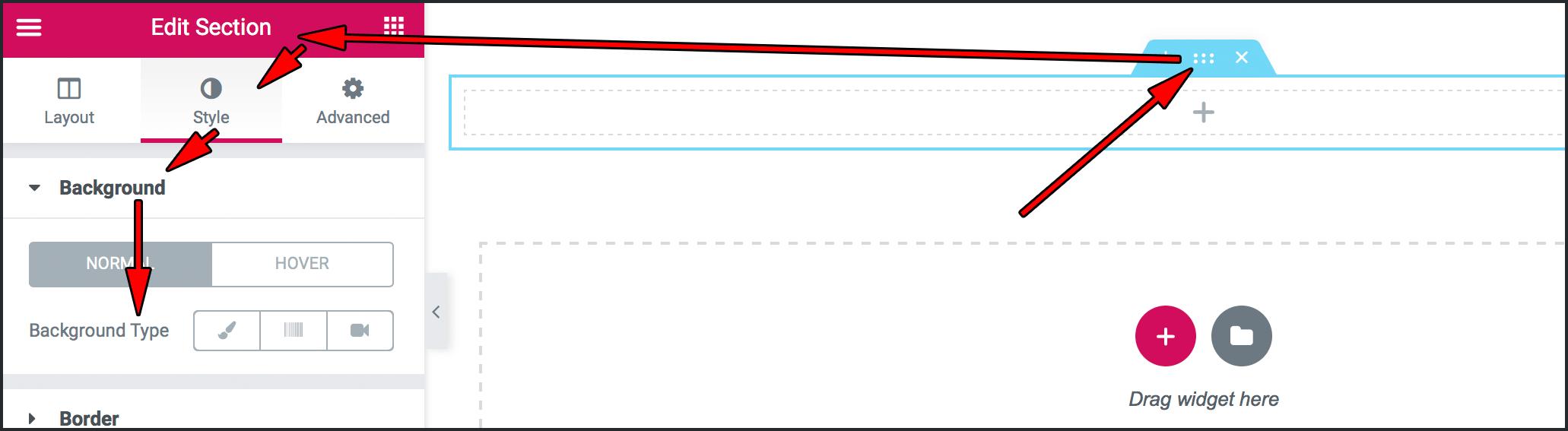 왼쪽 패널에 나타난 Edit Section
