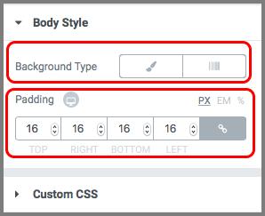 Background Type과 Padding 항목에 강조표시(빨간상자)