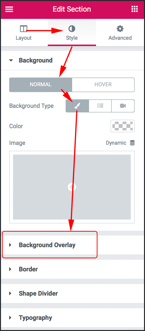 Background Overlay 옵션이 나타난 모습