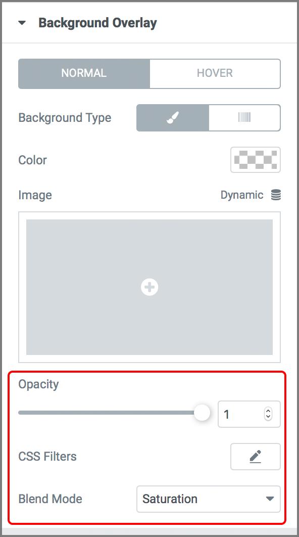Image칸 아래쪽에 자리잡은 Opacity, CSS Filters, Blend Mode 옵션