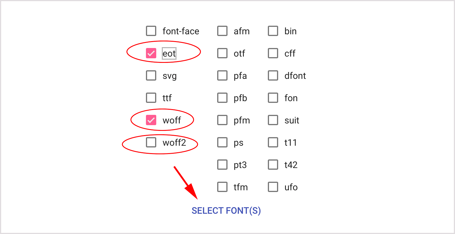 SELECT FONT(S)
