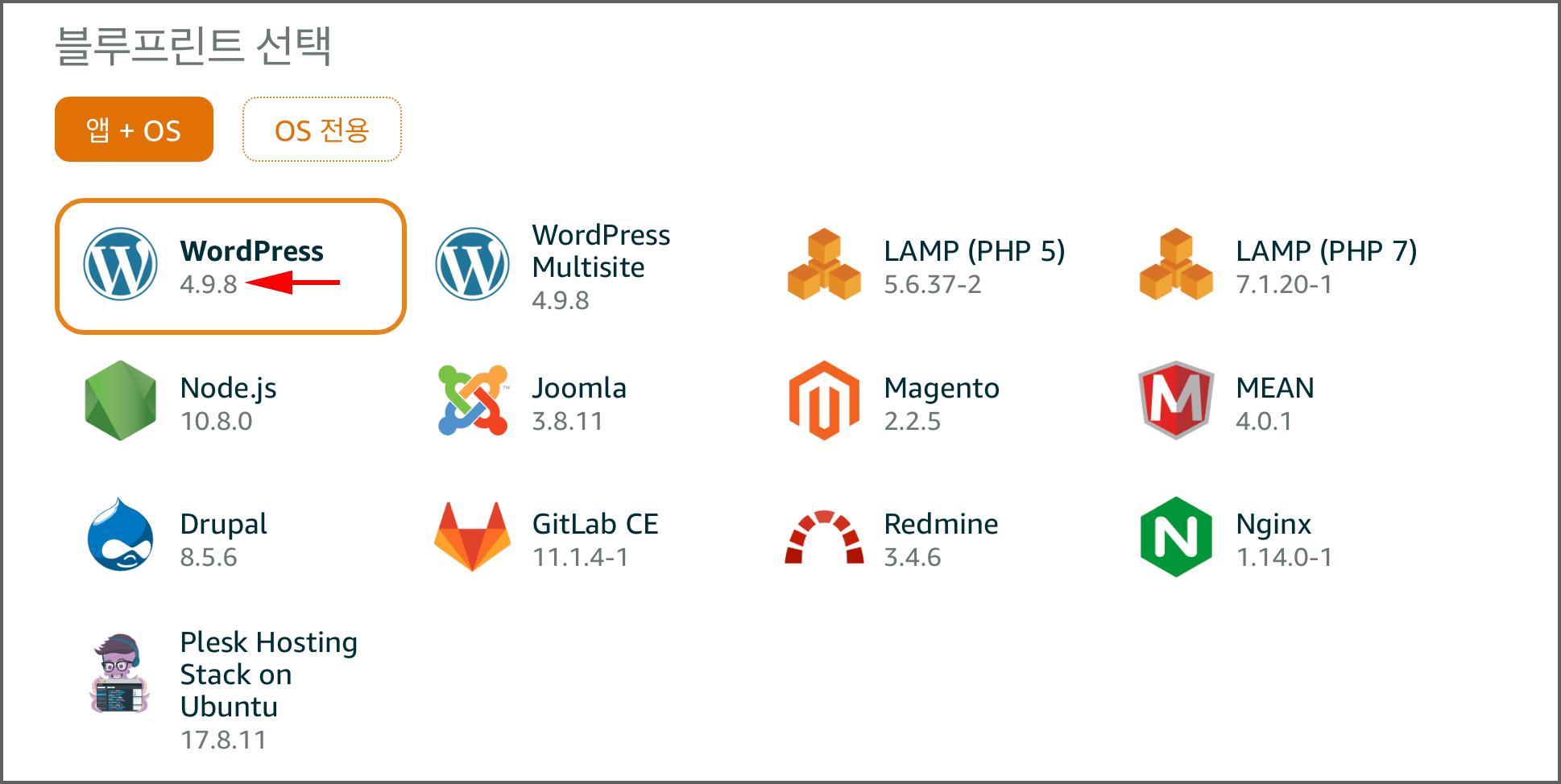 블루프린트 선택: WordPress 4.9.8