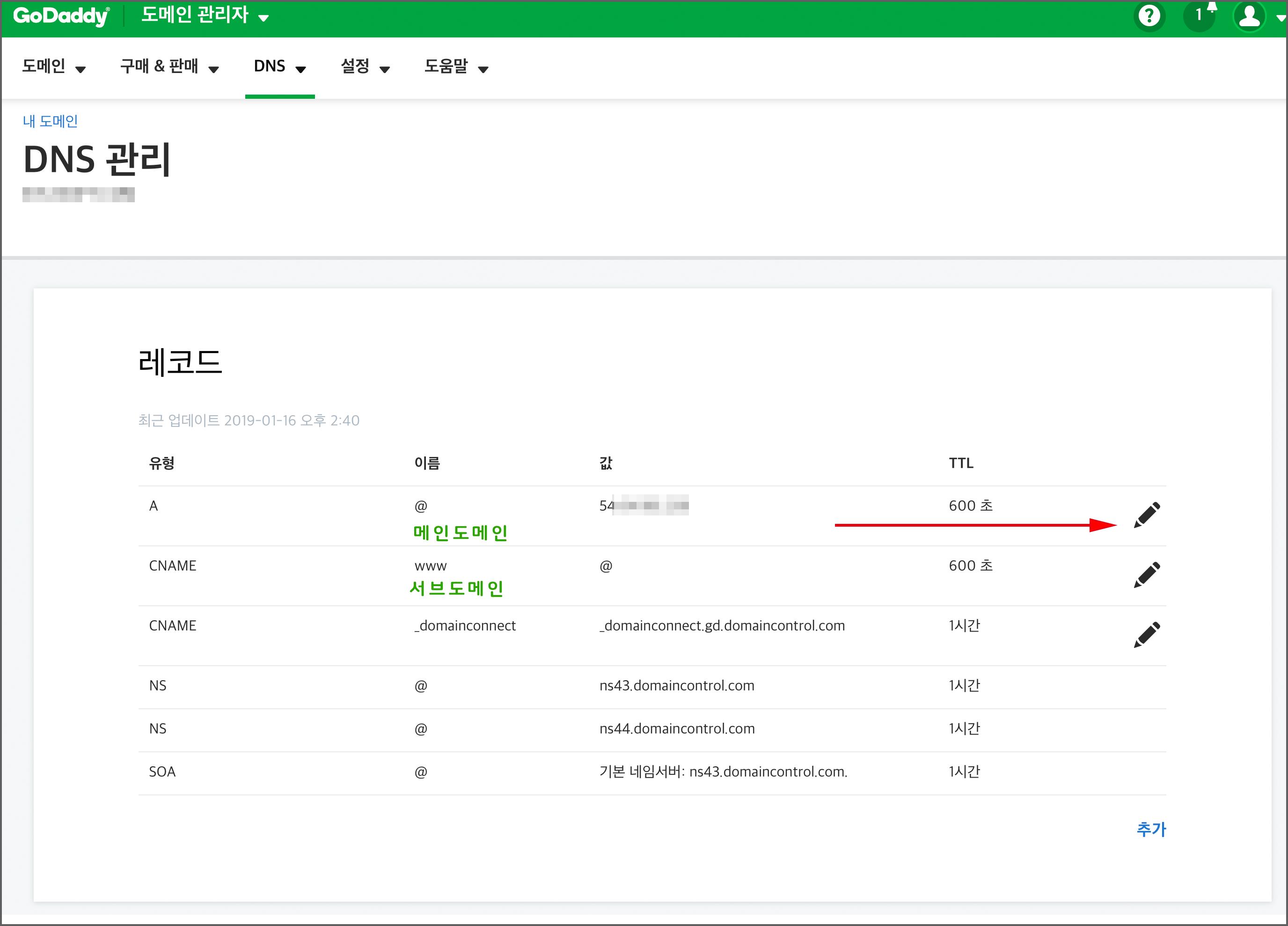 DNS 관리에서 메인도메인 레코드를 편집시도