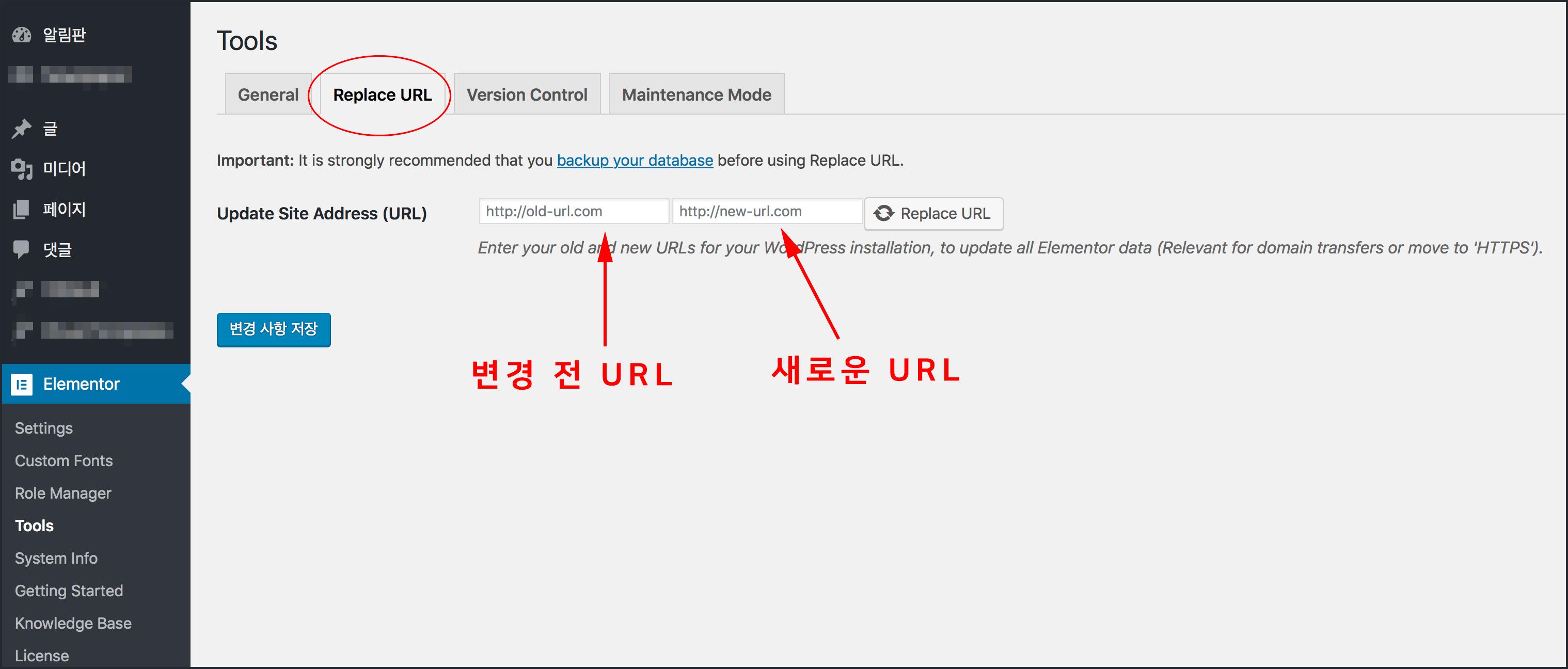 Update Site Address (URL)에 두개의 입력 필드가 잇고 Replace URL 실행 버튼이 있다.