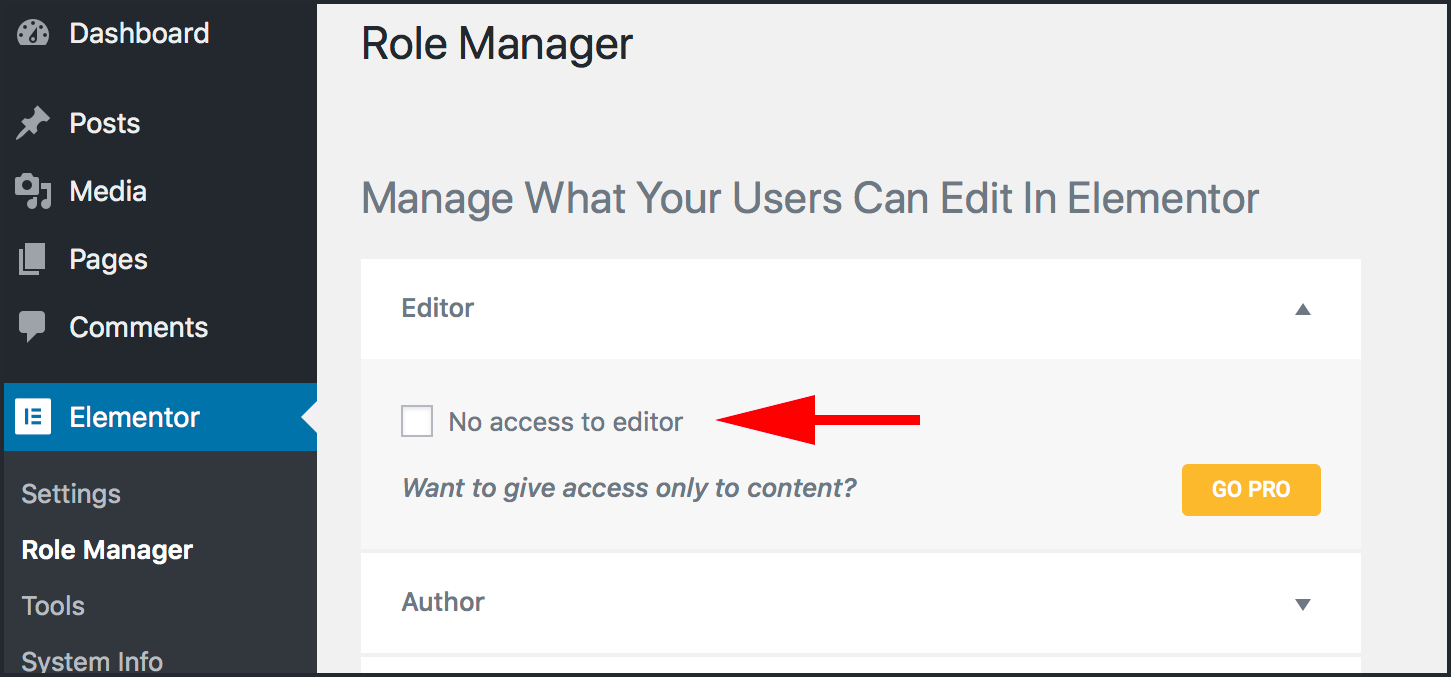 No access to editor