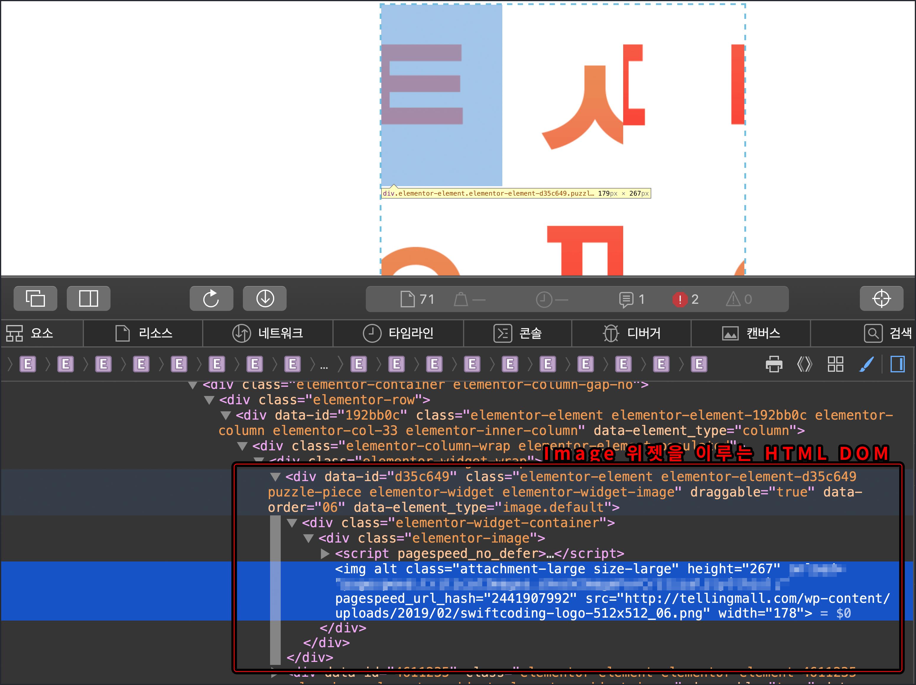 사파리 웹브라우저 개발자 모드로 본 HTML DOM