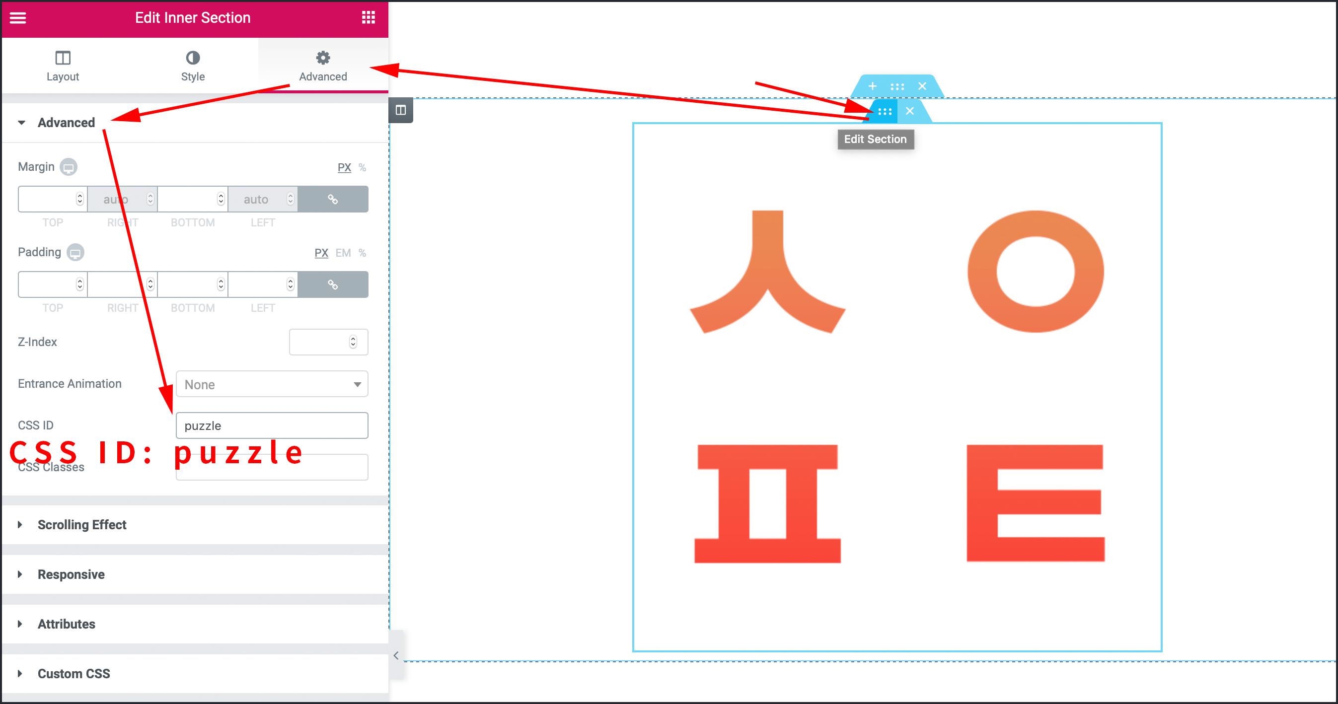 CSS ID 옵션에 puzzle 입력