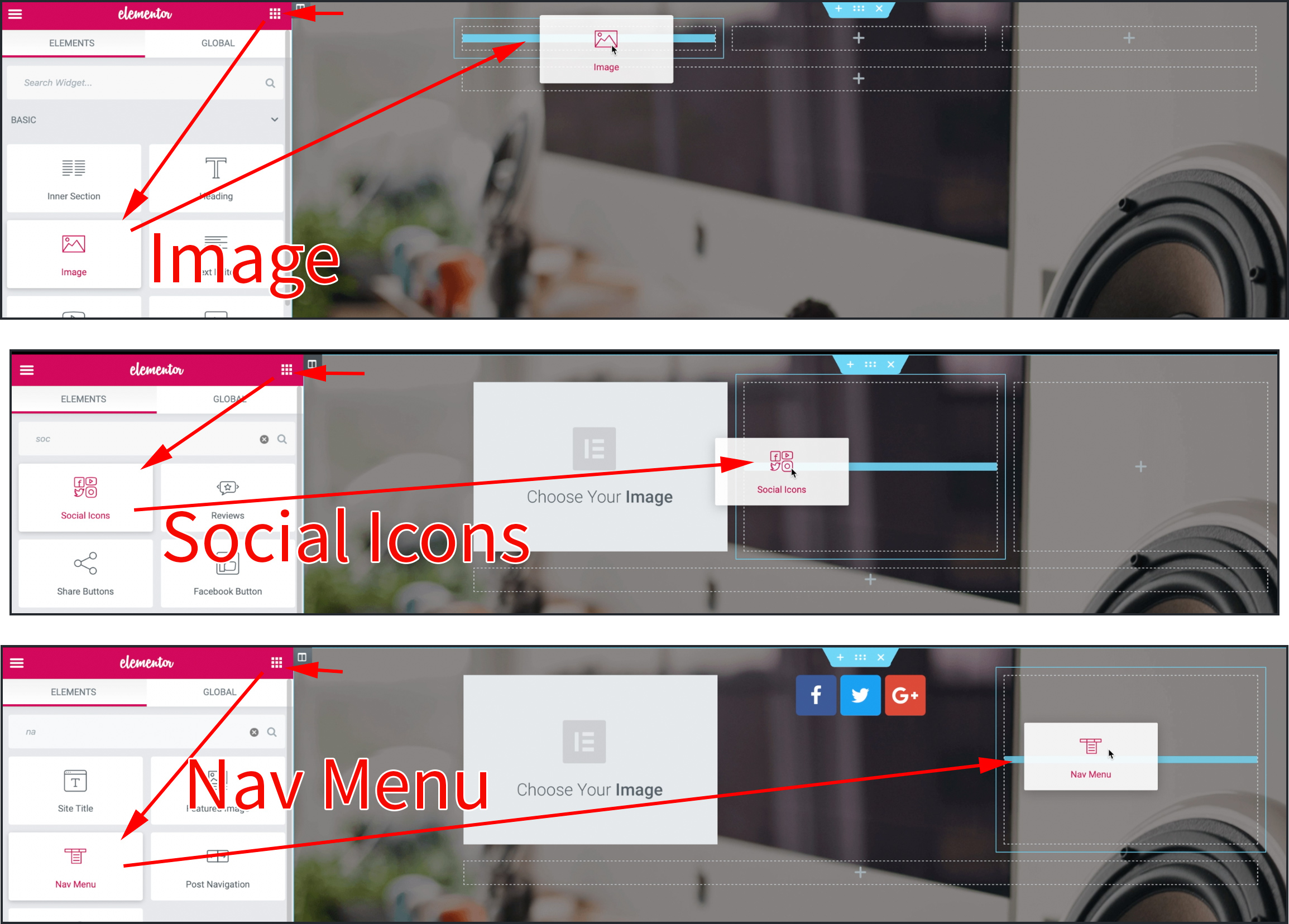 이너섹션 첫번째 칼럼에는 Image위젯, 두번째칼럼엔 Social Icon  위젯, 세변째 칼럼엔 Nav Menu위젯을 끌어다 놓는 모습