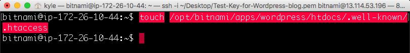 touch 명령어로 .htaccess 파일 만들어주기
