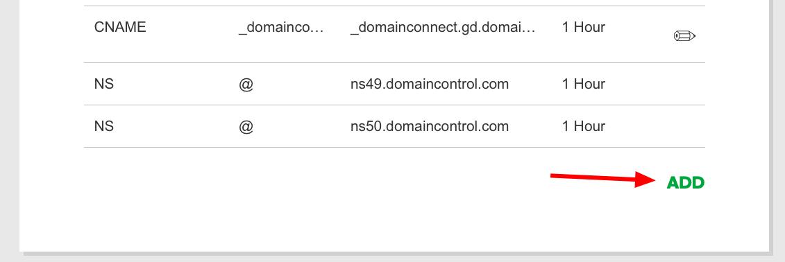 ADD 버튼을 눌러서 DNS 레코드 추가한다
