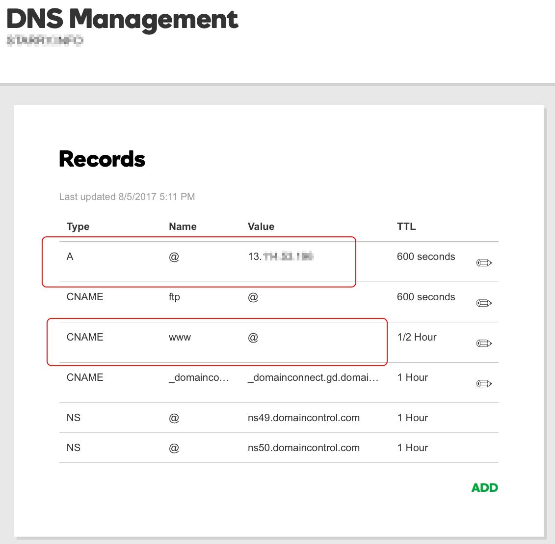 고대디 도메인 DNS 관리화면. A타입 레코드와 CNAME 레코드 타입이 있다