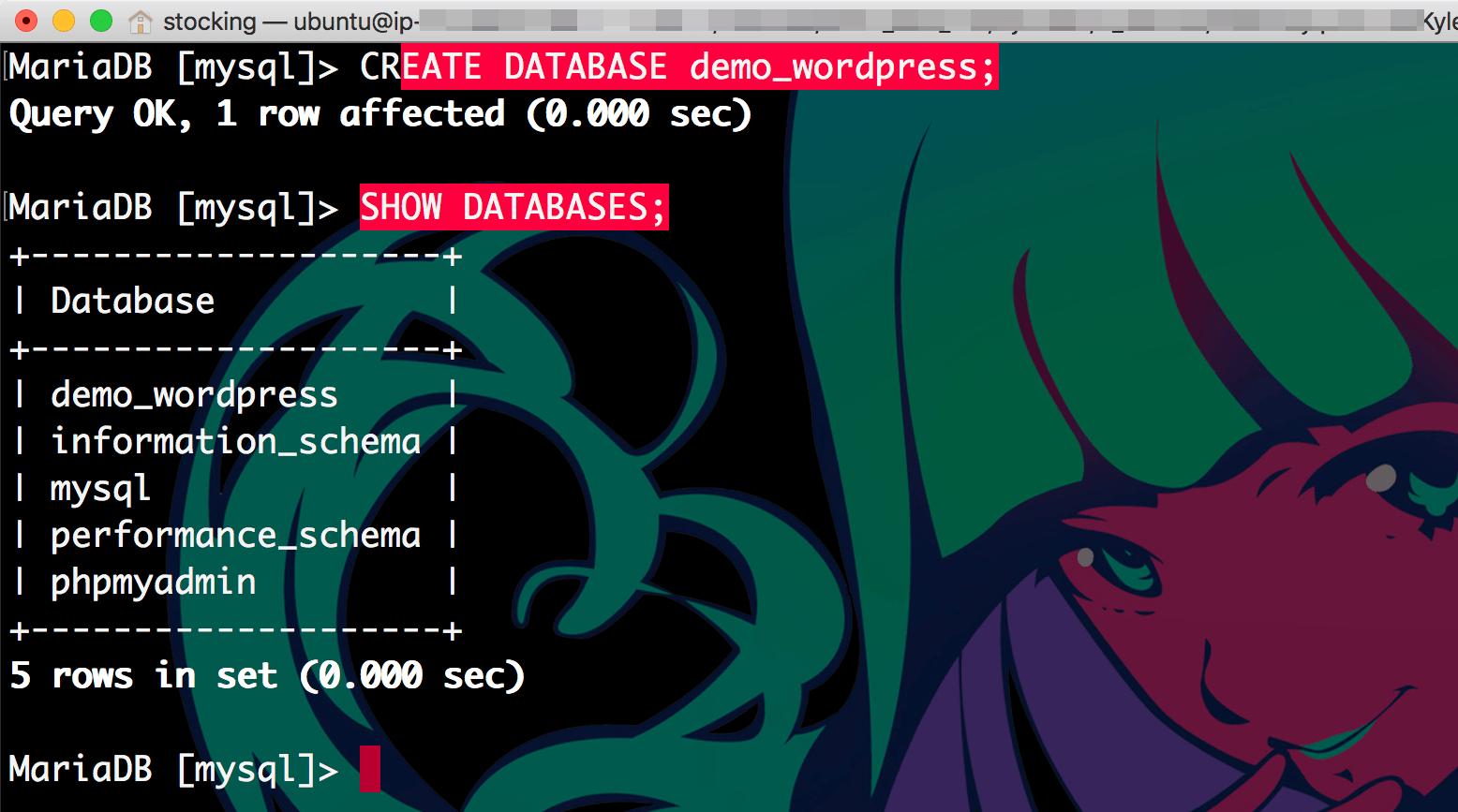 새로운 데이터베이스를 생성하고 데이터베이스 목록을 띄워보니 만들어진게 확인된다