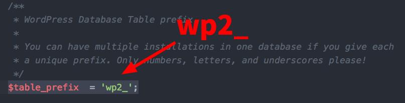 두번째 워드프레스 DB테이블 접두사 변경