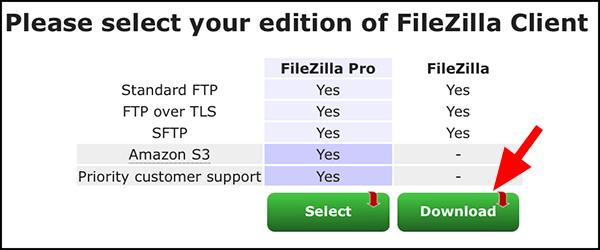 파일질라 프로버전과 일반버전 선택화면