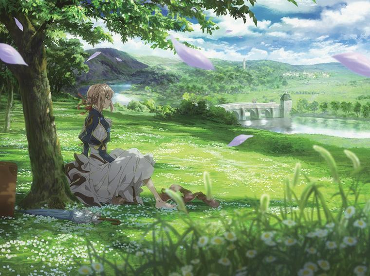작은 꽃들이 만개한 푸른 들판, 나무아래 앉아있는 바이올렛. 먼곳을 응시하고 있다.
