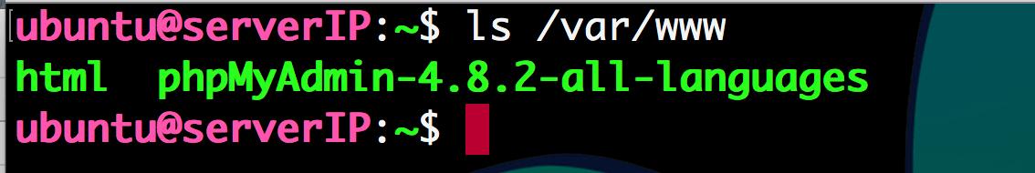 ls 명령어 실행결과 phpMyAdmin-4.8.2-all-languages 폴더가 생겼다
