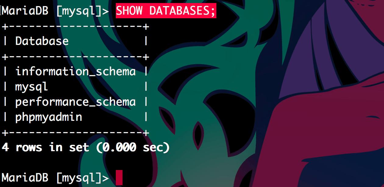 현재 마련된 데이터베이스가 4개 있다