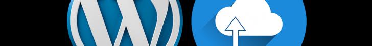 워드프레스 로고와 클라우드 업로드 아이콘