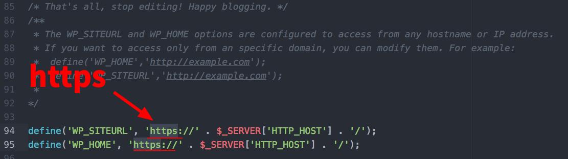 wp-config.php 파일 사이트URL 설정 줄