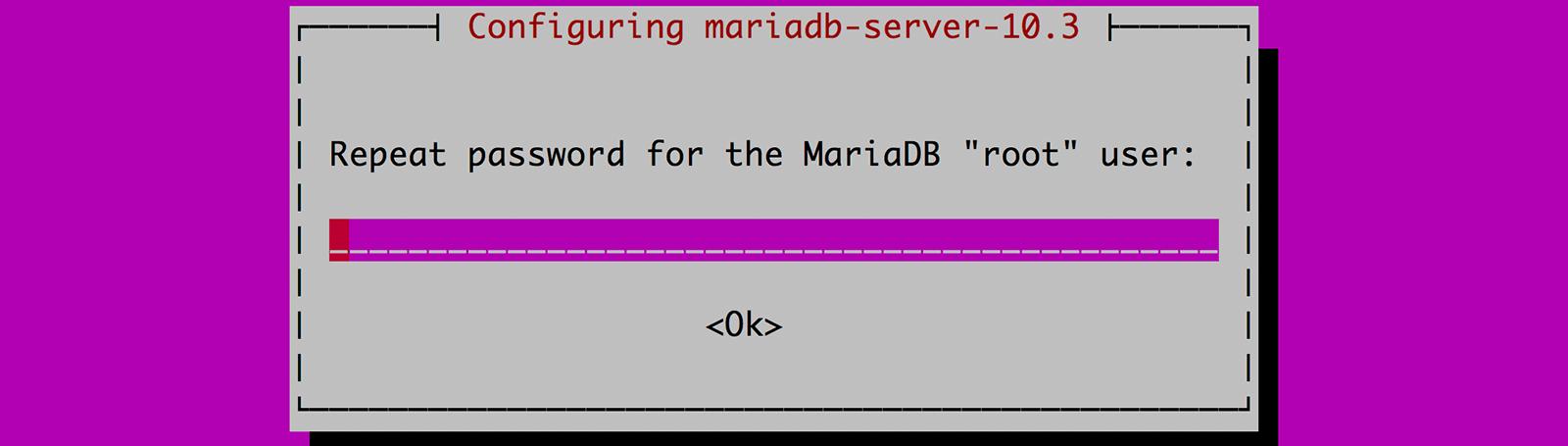 DB의 root 유저 비밀번호 설정하기 재확인 입력화면