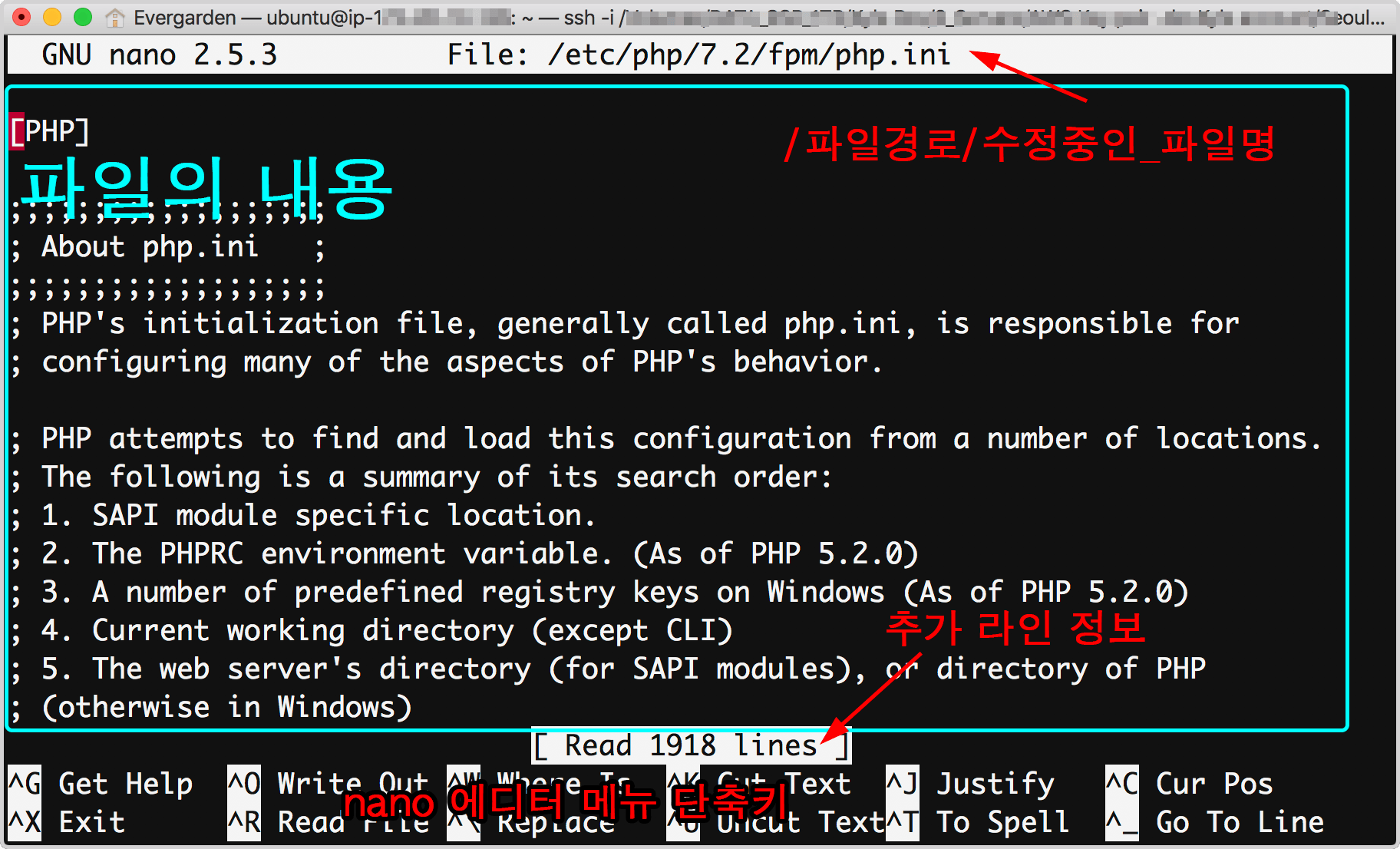 php.ini 파일을 나노 편집기에서 열었다