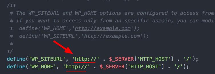 wp_siteURL과 WP_home 설정